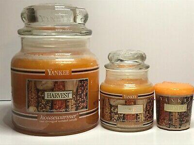 Yankee Candle HARVEST Set-14.5 oz Medium Jar; 3.7 oz Small Jar;Votive/Black Band