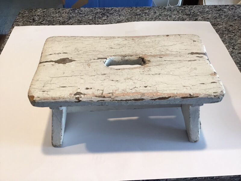 Vintage Wooden Step Stool Country Rustic Farmhouse Bench Decor Plant Stand (C)
