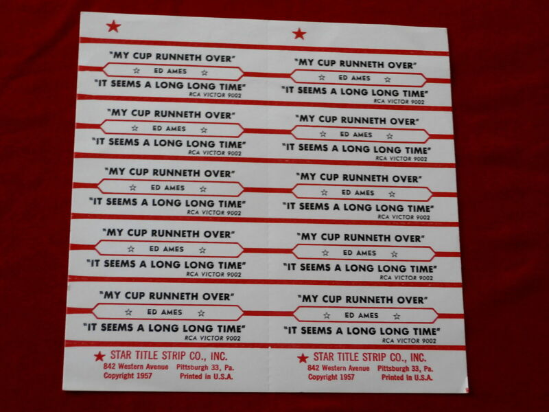 ED AMES~ MY CUP RUNNETH OVER~ IT SEEMS A LONG LONG TIME~ ~ JUKEBOX  TITLE STRIPS