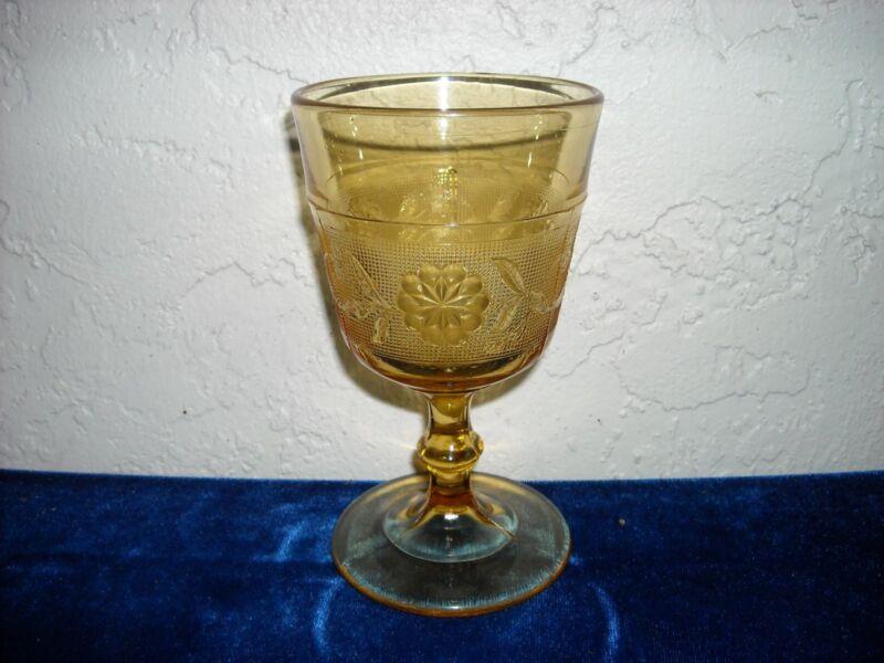 EAPG Dahlia Goblet  Amber