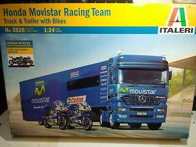 HONDA MOVISTAR RACING TEAM TRUCK TRAILER WITH BIKES ITALERI 1/24