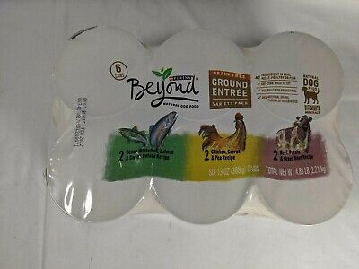 6 Purina Beyond Grain Free Natural Adult Wet Dog Food, Salmon, Chicken, Beef