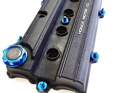 VMS BLUE ENGINE DRESS UP KIT B20 BILLET VALVE COVER WASHER SEALS NUTS OIL CAP