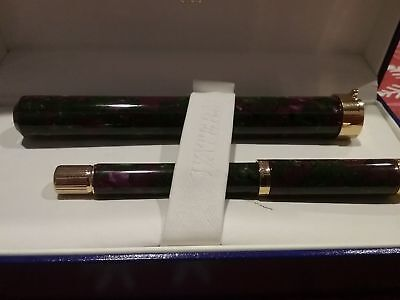 WATERMAN LADY AGATHE GREEN MAUVE FOUNTAIN PEN 18K GOLD PT & CONVERTER NEW IN BOX