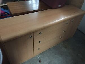 Dresser with mirror, side table and queen head board