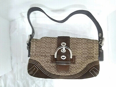 COACH Soho Signature Brown Suede Jacquard Small Mini Flap Shoulder Bag 3628 Soho Signature Flap