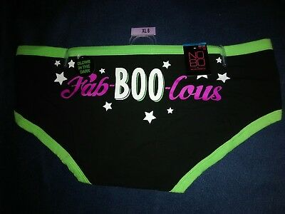 Halloween Hipster Green & Black, NWT XL 8 Glow in the dark panties undies