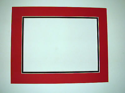 Picture Frame Double Mat 11x14 for 8.5 x11 photo Red with Black covid 19 (Double Picture Mats Matting coronavirus)