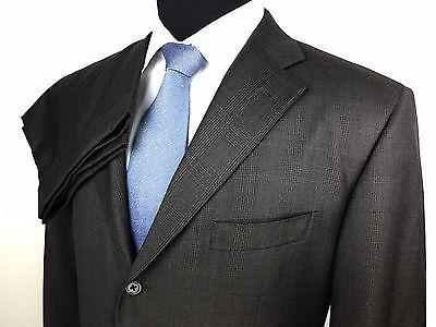 POLO RALPH LAUREN Italy Mens 44L W38 Brown Blue Plaid 3-Button Dual Vent Suit