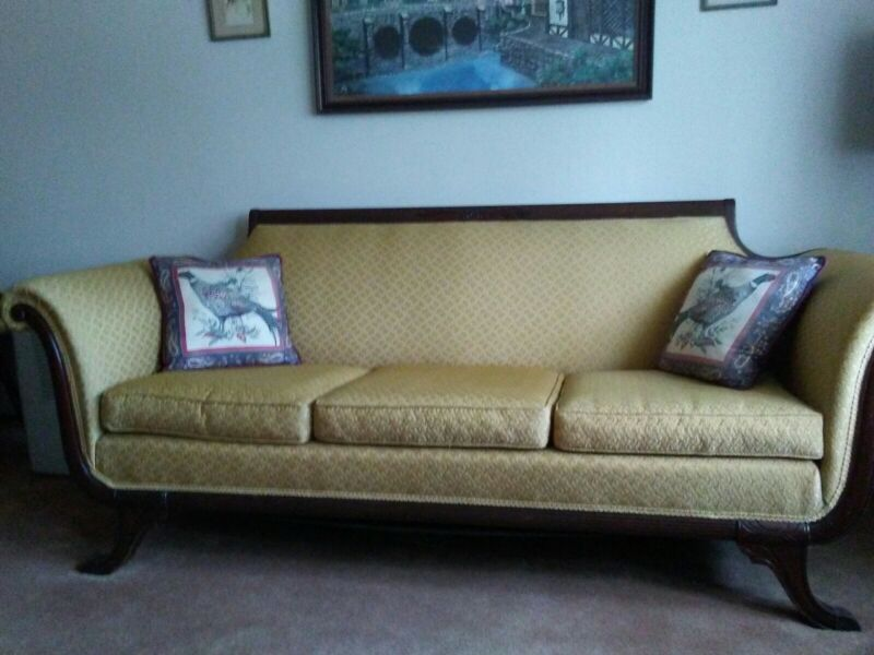 Antique Duncan Phyfe claw foot carved mahogany sofa