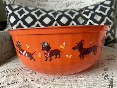 DACHSHUND Halloween Candy Bowl Plastic Large Orange Black DOXIE Dog Red Brown