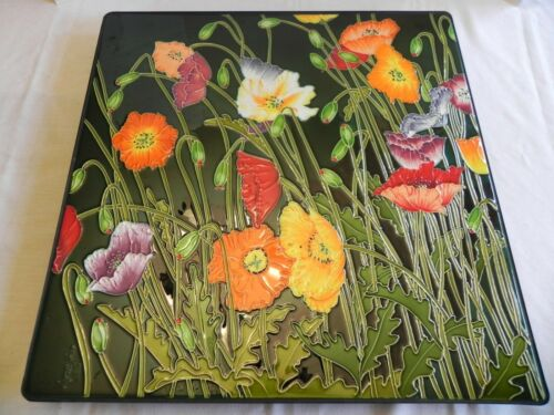 Signed Poppies Flower Wayne Gao Raised Art Tile Carved Ceramic Panel  24 x 24""
