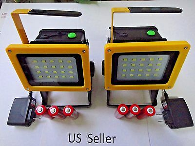 2X-Rechargeable 30W outdoor Portable LED Flood work light Camping Lamp US Seller
