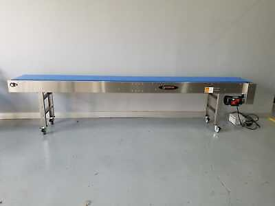 New Globaltek 14x18 Ss Conveyor With Modular Plastic Belt With H-stand