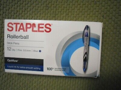 New Staples Optiflow Rollerball Pens Fine Point Blue Ink Dozen 11528