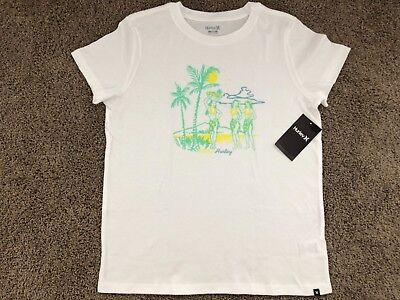 Brand New Hurley Nike Womens T Shirt Tee Crew Hula Party Hawaii Girl White Tee