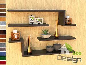 Set 4 mensole legno vari colori design moderno cucina - Mensole acciaio per cucina ...