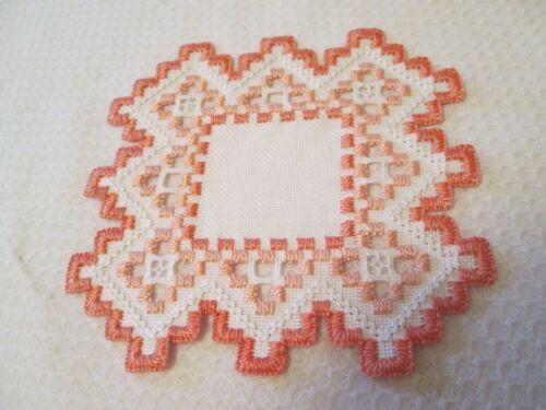 Hardanger  Doily Norwegian Embroidery  Hand Made Peach