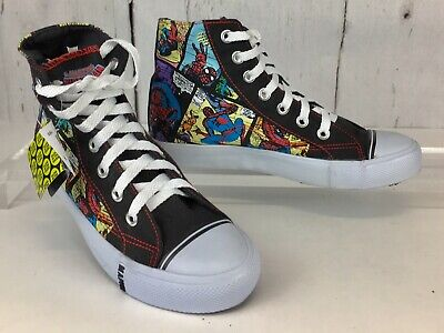 Boy's Marvel Spiderman High-Tops, Brand New w/ Tags, Size 1 1/2, Lace-Ups: Glow