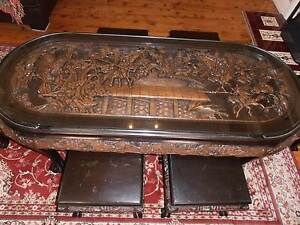 Chinese Carved War Scene oblong Coffee Table Naremburn Willoughby Area Preview