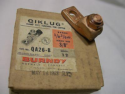 1 Burndy Qiklug Qa26b Heavy Duty 1 Screw Terminal Connector Lug 20-10 Awg