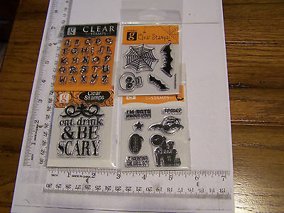 HALLOWEEN ALPHABET SKULL HOUSE BE SCARY  STUDIO G CLEAR RUBBER STAMPS RETIRED  (Alphabet Halloween)
