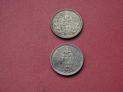 (2) 1941 1944 25 Cents Whilelmina Nederland Netherlands Argent Zilver