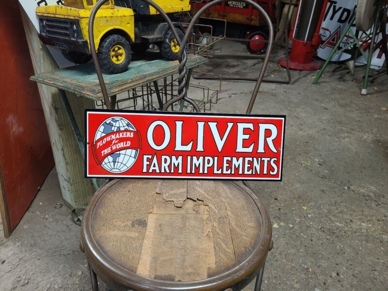 Oliver Farm Implements Sign seed feed barn Tractor gas oil Steam  🚜