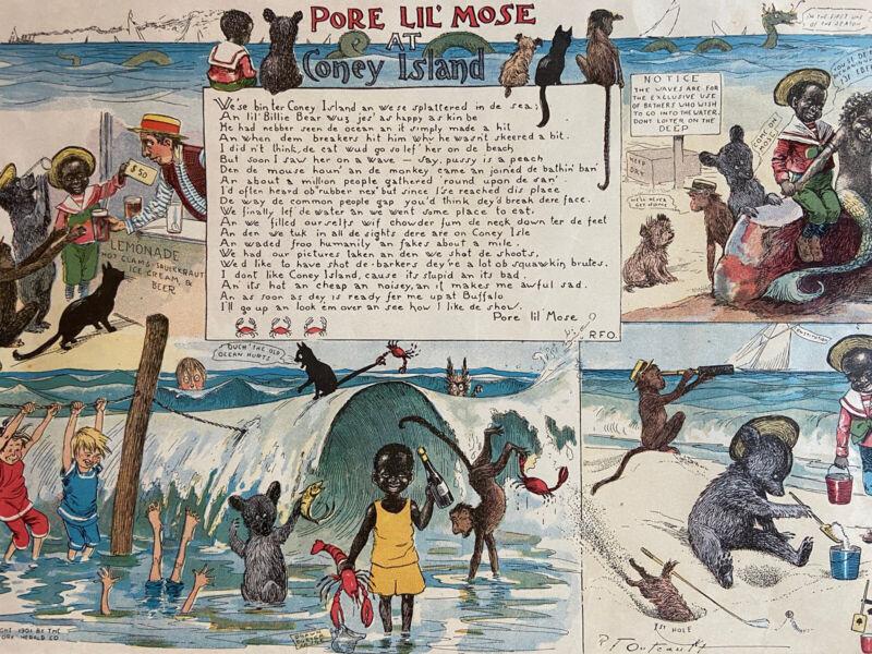 1901 Pore Lil Mose At Coney Island R.F. Outcault New York Herald Cartoon