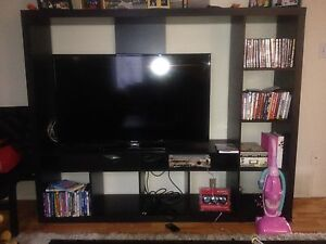 Tv, with entertainment unit and Xbox