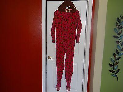 NWT Rudolph Reindeer Pajamas Zip Up Fleece One Pc Adult Footed Antler Deer Hood