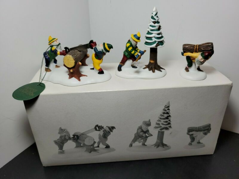 Department 56 Heritage Village Collection  Woodsman Elves Set of 3 New Retired