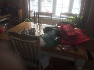 Hard wood table and maching 6chairs and hutches