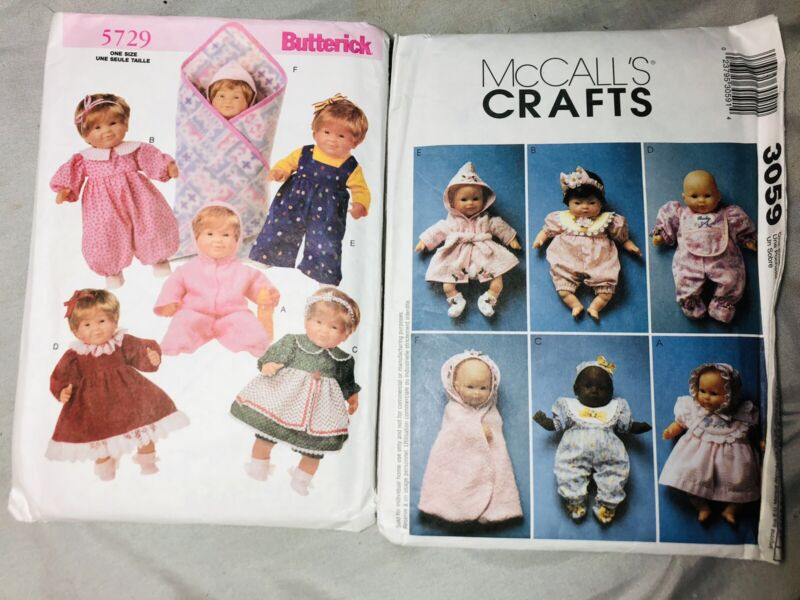 """2 Baby doll Clothing Wardrobe patterns McCall's Crafts and Butterick 8-18"""" Uncut"""