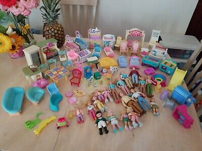 Vintage Fisher-Price Loving Family Doll House HUGE Lot 18 Figures