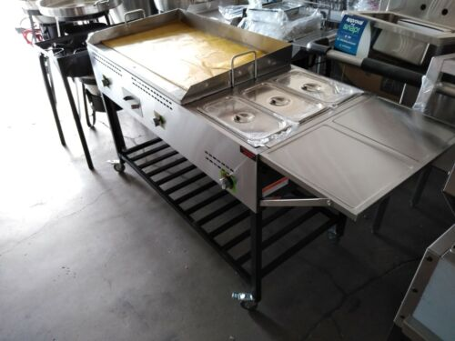 "Taco cart 50"", food cart, plancha para tacos, griddle cart with steamers"