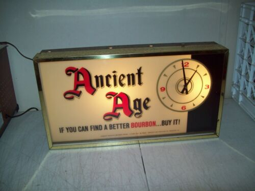 vintage Ancient Age Bourbon lighted clock straight Kentucky Bourbon VERY RARE
