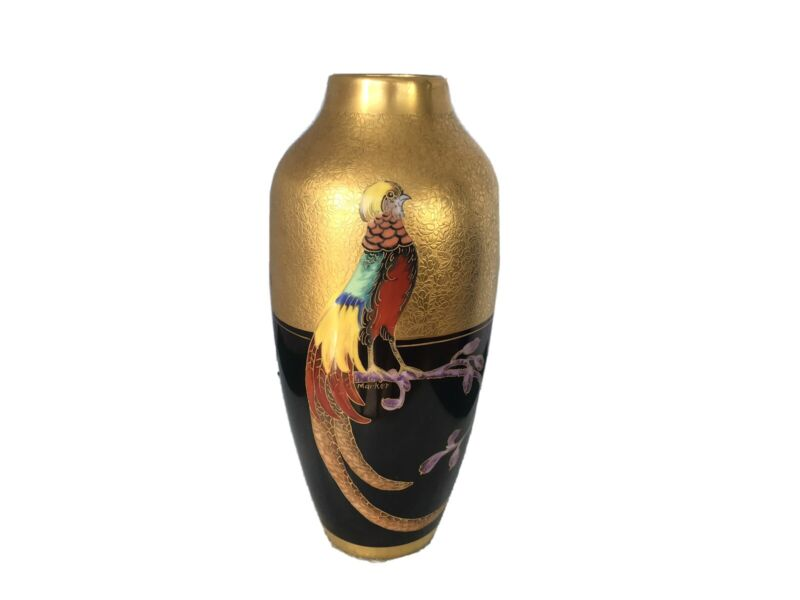 "Antique Pickard China Porcelain Vase Hand Painted PHEASANT Artist Signed 10"""
