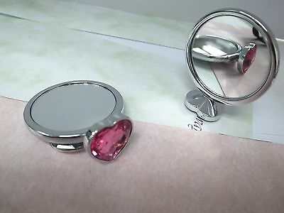 Mirror Heart shaped  collection jeweled double side in Pink Acrylic Stone  Acrylic Double Side Mirror
