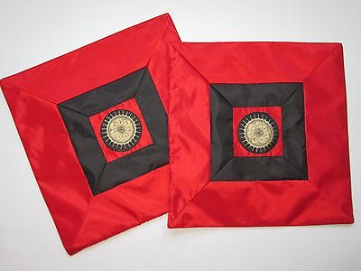 Lot of 2 Indian red black Silky Embroidered Cushion Cover Case pillow shams 16