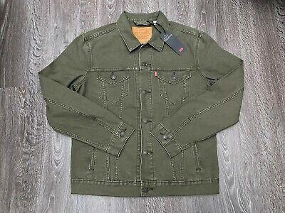 Levi's Premium Quality Jean Denim Olive Green Canvas Trucker Jacket L 723340411