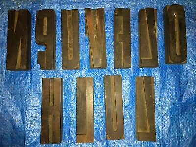 Large 5 Antique Wood Letterpress Printing Press Type Block Letters Typeset