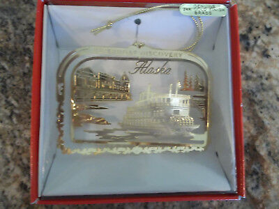 Nation's Treasures Riverboat Discovery, Alaska Ornament - 24K Gold Finish Brass