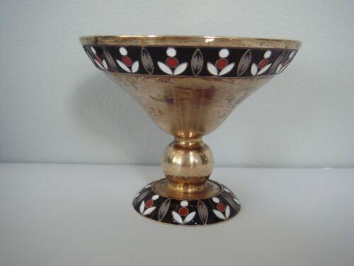 Antique Soviet Russia Gilded 916 Silver Cloisonné Enamel Cup Sugar Candy Bowl