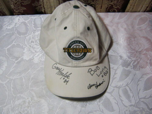 GREEN BAY PACKERS AUTOGRAPHED TITLETOWN CAP  BOB LONG GARY KNAFELC T*