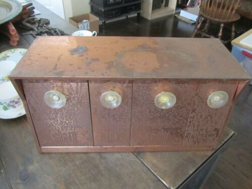 VTG Mid Century Copper Canister Wall Unit Speco Products SUGAR TEA COFFEE FLOUR