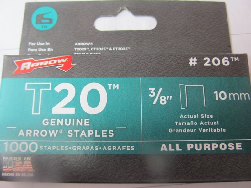 "Arrow Genuine T20 3/8"" Staples #206 Package of 1,000 staples   NEW"