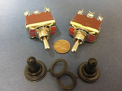 2 Pieces Red Waterproof Boot Cap Dpdt Momentary Toggle Switch 2x Onoffon 30a