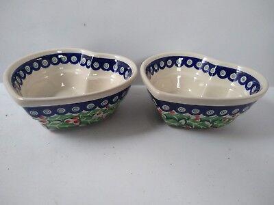 - Polish Pottery Heart Shaped Bowls Set of 2 Boleslawiec Christmas Pattern