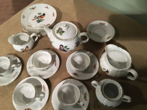 ANTIQUE GERMANY / SMALL TEA SET / BIRDS & INSECTS / 21 PIECE / OLD APPRAISAL / G
